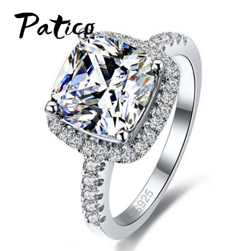 PATICO Luxury 100% 925 Sterling Silver Rings for Naisten häät Engagement-tarvikkeet Cubic Zirkonia korut Big Promotion