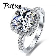 Купить с кэшбэком Luxury Geniune 925 Sterling Silver Wedding Engagement Rings Gemstone Diamond Cubic Zirconia Jewelry For Bridal Big Promotion!