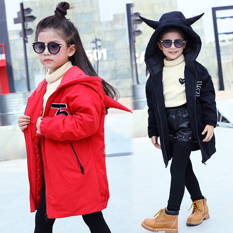 2016 new girls winter children coat girls long clip cotton windbreaker coat free shipping
