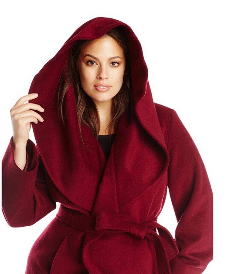 automnehiver 2016 vin rouge laine manteau femmes paragraphe laine veste avec ceinturechina - Manteau Femme Color