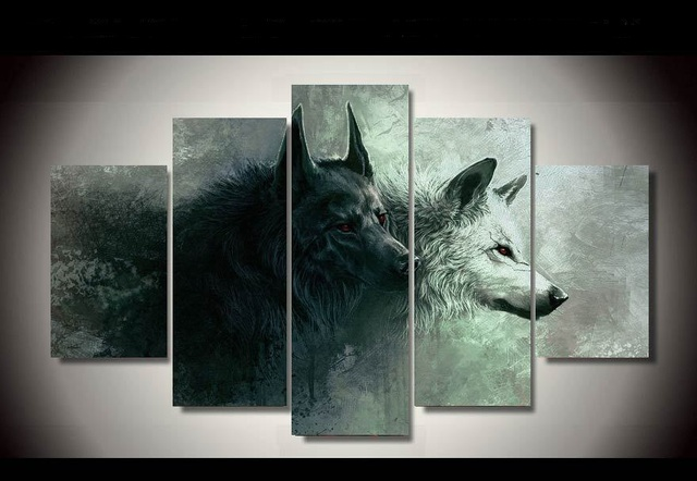 5 Pieces Hd Printed Wolf Painting Wall Art Children S Room Decor Poster Canvas