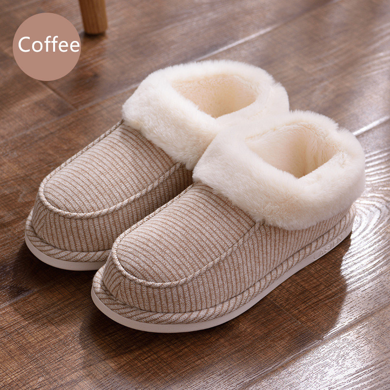 Suihyung Winter Warm Indoor Cotton Shoes Unisex Striped Plush Home Slippers Lovers Bedroom Floor Slip On Furry Flat Shoes 35-46 fashion autumn and winter indoor home lovers cotton drag floor plush slippers female slip resistant
