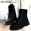 LIN KING New Designer Men Boots Fashion Lace Up Mid Calf Shoes Vintage Martin Boots Work Safety Male Shoes High Top Winter Shoes