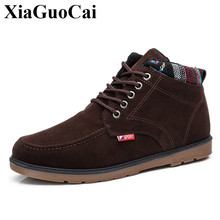 цена на Cotton Shoes Men Snow Boots for Winter Fleeces Warm Fur Lace-up Flat Casual Nation Retro Wear-resistant Anti-skid Ankle Boots