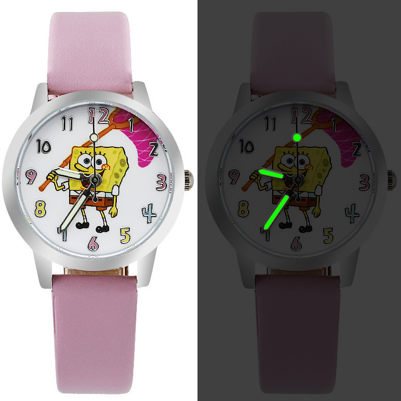 New Brand Children's Watch Casual Leather Quartz Luminous Watch Kids Cartoon SpongeBob Boy Girl Birthday Gift Clock