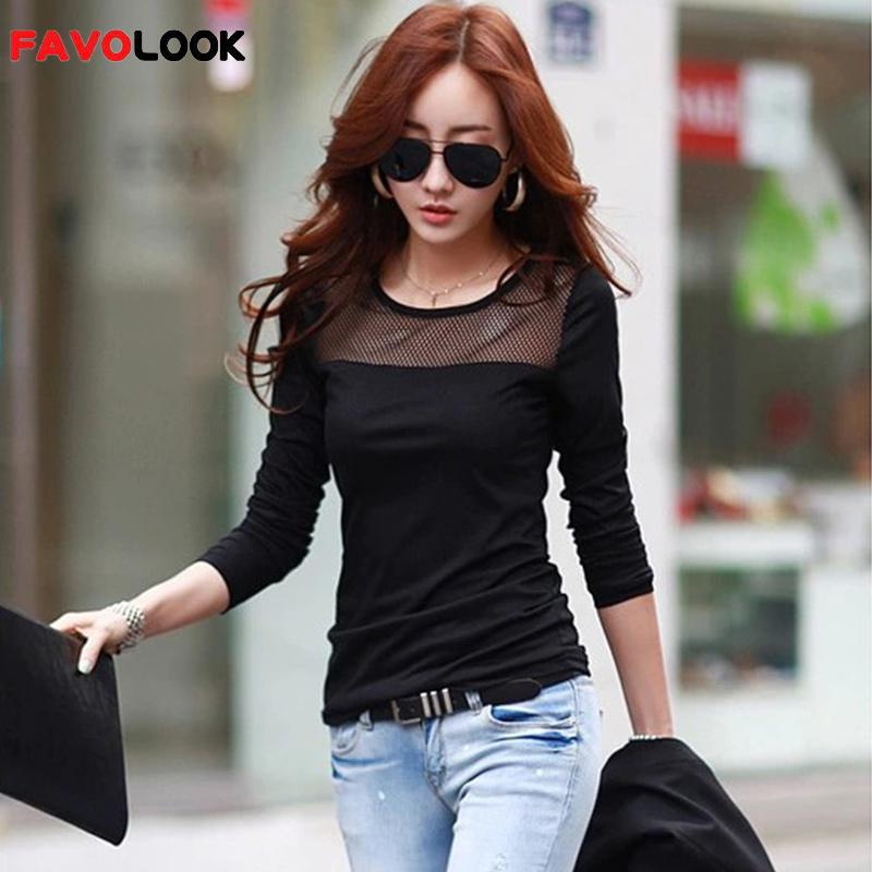 2018 2018 Koreanische Baumwolle Spitze Mesh Patchwork Langarm Shirts T Shirt Frauen Tops Tees T-shirt Mode Sommer Stil Dauerhafte Modellierung