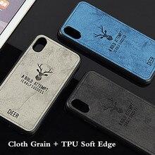 Xiaomi cc9e a3 용 10 개/몫 사슴 헤드 폰 케이스 redmi go s2 용 pocophone f1 재생 6 7 pro cloth grain back cover fundas