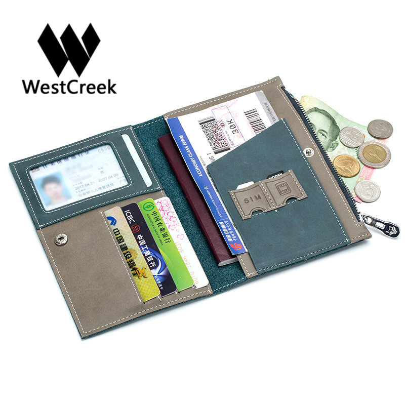 Westcreek Thin Passport Cover Leather Credit Card Holder with Phone Card Slot ID Holder Wallet and Zipper Coin Purse Pocket new cowhide leather men middle long wallets black color credit card holder driver s license passport pocket coin purse id wallet