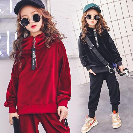 Teenage Girls Clothing Sets 2018 Autumn Kids Outfits Long Sleeve Velvet Hoodies Tracksuit Sport Suits Children Clothes For Girls children clothing for autumn kids set boys and girls long sleeved sport clothes sets teenager hoodies pants outfits 2pcs