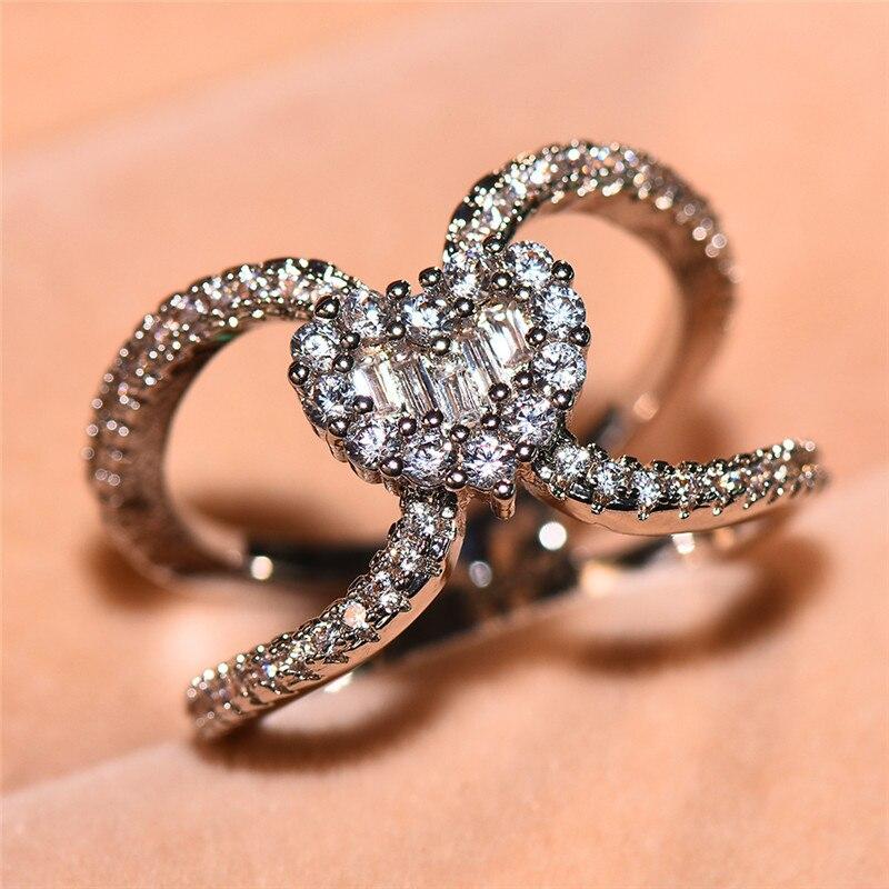 Cute Boho Female Small Heart Ring Fashion Bridal Ring ...