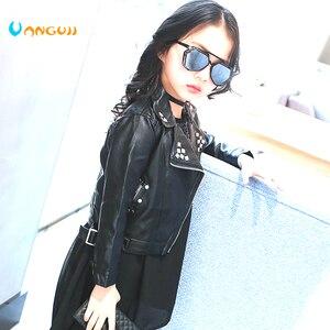 Image 2 - Dziewczyny kurtka jesienno jesienna 2 7 lat staromodny kurtka PU płaszcz z klapami nity metalowe skóra motocyklowa pas dla dzieci kurtki dla dzieci