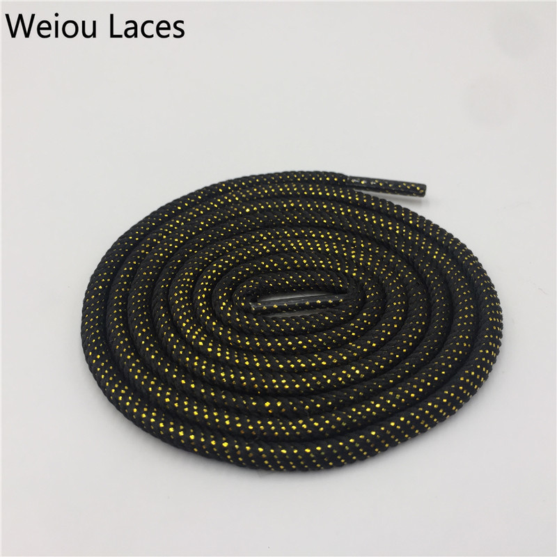 Weiou Round Rope Laces Glitter Shiny Black Gold Silver Bootlaces Customized Metallic Shoelaces Cool Sparkle Latchet Shoestrings