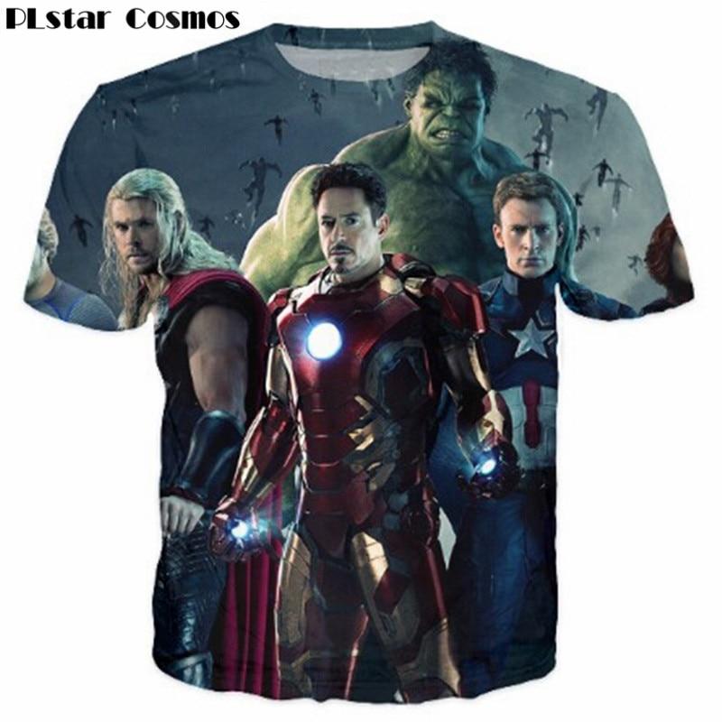 PLstar Cosmos Summer tees Iron Man Thor hulk T-Shirt hip hop women men Casual 3D t shirt Unisex tops camisas Plus size 5XL
