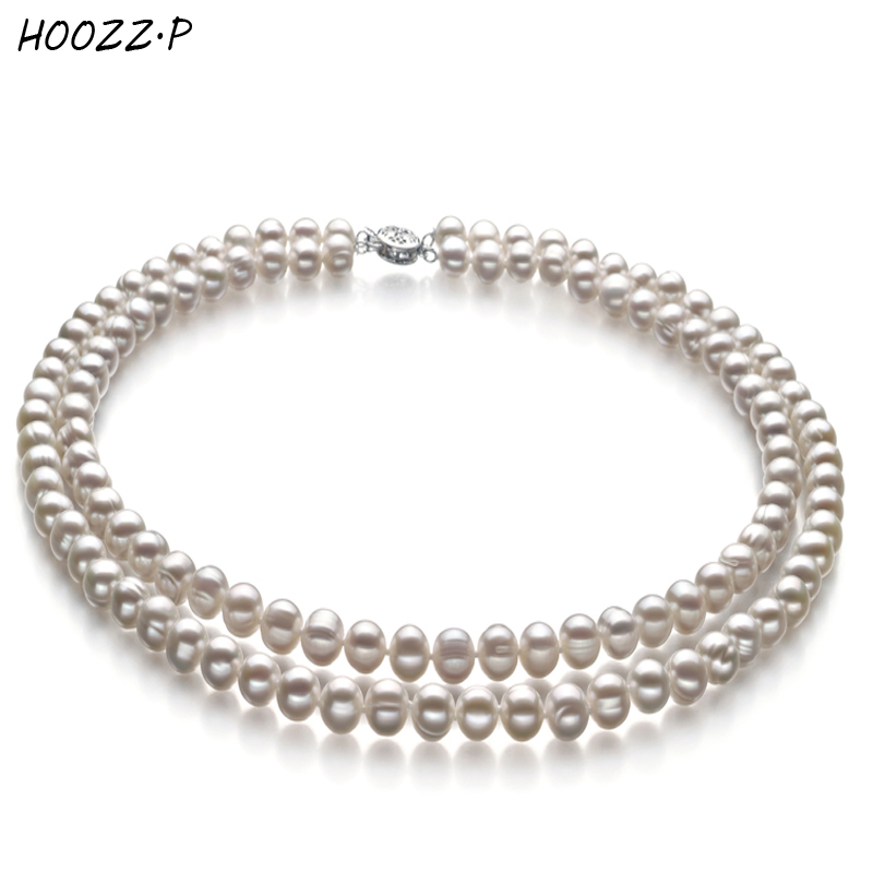 HOOZZ.P White Black 6-7mm A Quality Freshwater Cultured Pearl Necklace Double Necklace for Engagement Anniversary Wedding цена и фото