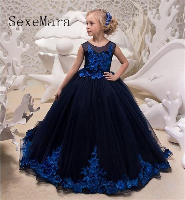 New Navy Blue Girls Dresses for Wedding Lace Applique Girls Formal Party Dresses Birthday Easter Christmas Dress Communion Dress high quality sleeveless bud lace sweet dresses girls birthday party dresses evening party formal wear christmas children s dress