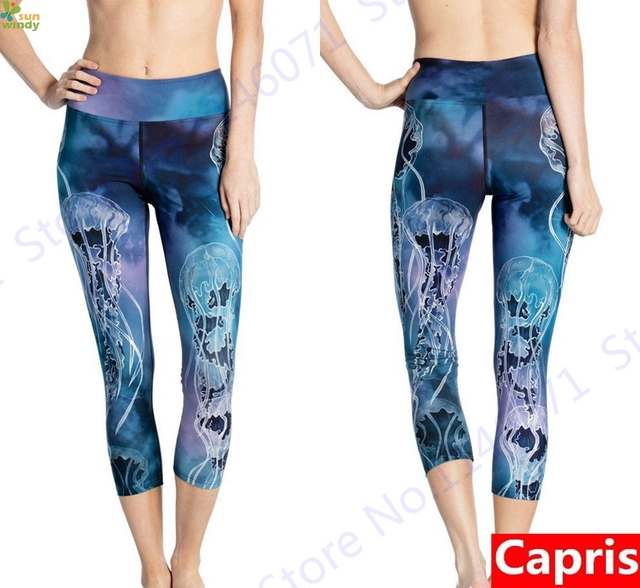 a594af39ff Blue Sea Jellyfish Womens Yoga Capri Leggings Print Jellyfish Forest Sports  Running Tights Slim Skinny Fitness Gym Cropped Pants
