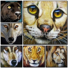 Wolf DIY 5d Diamond Embroidery Cat Set Animal Face Painting Lion Full Mosaic Tiger Crystal Needlework Dog Decor