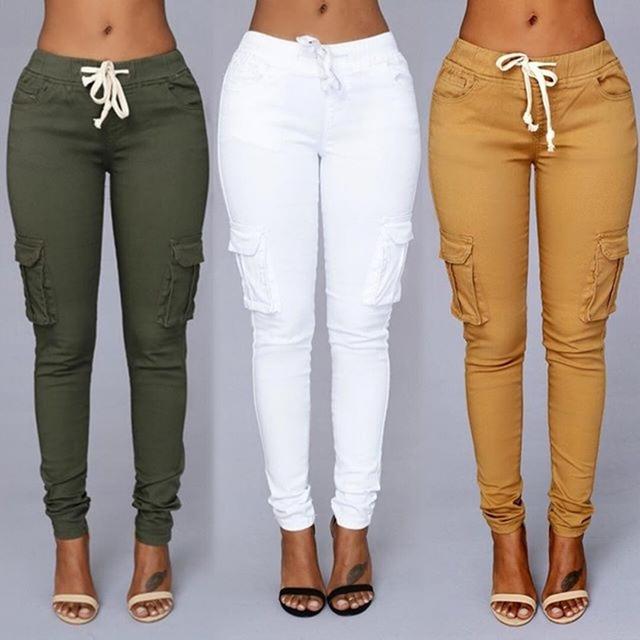 2017 Nova Moda Casual Skinny Slim Bolsos Cordão Lacing Elastic Estiramento Lace Up Women Calças Lápis