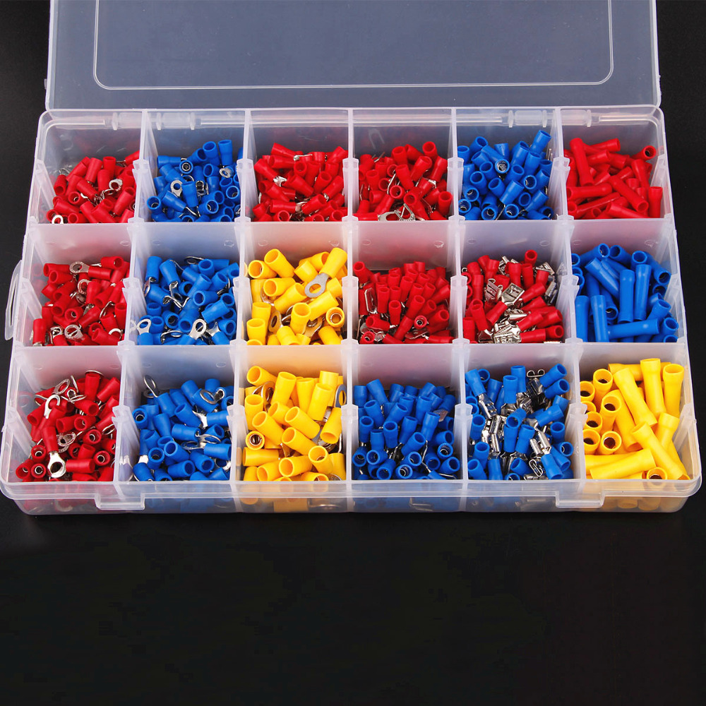 1200Pcs Assorted Insulated Spade Cable Connector Crimp Electrical Wire Terminal Set Red Blue Yellow 300pcs set assorted insulated electrical wire crimp terminals connector butt set with box