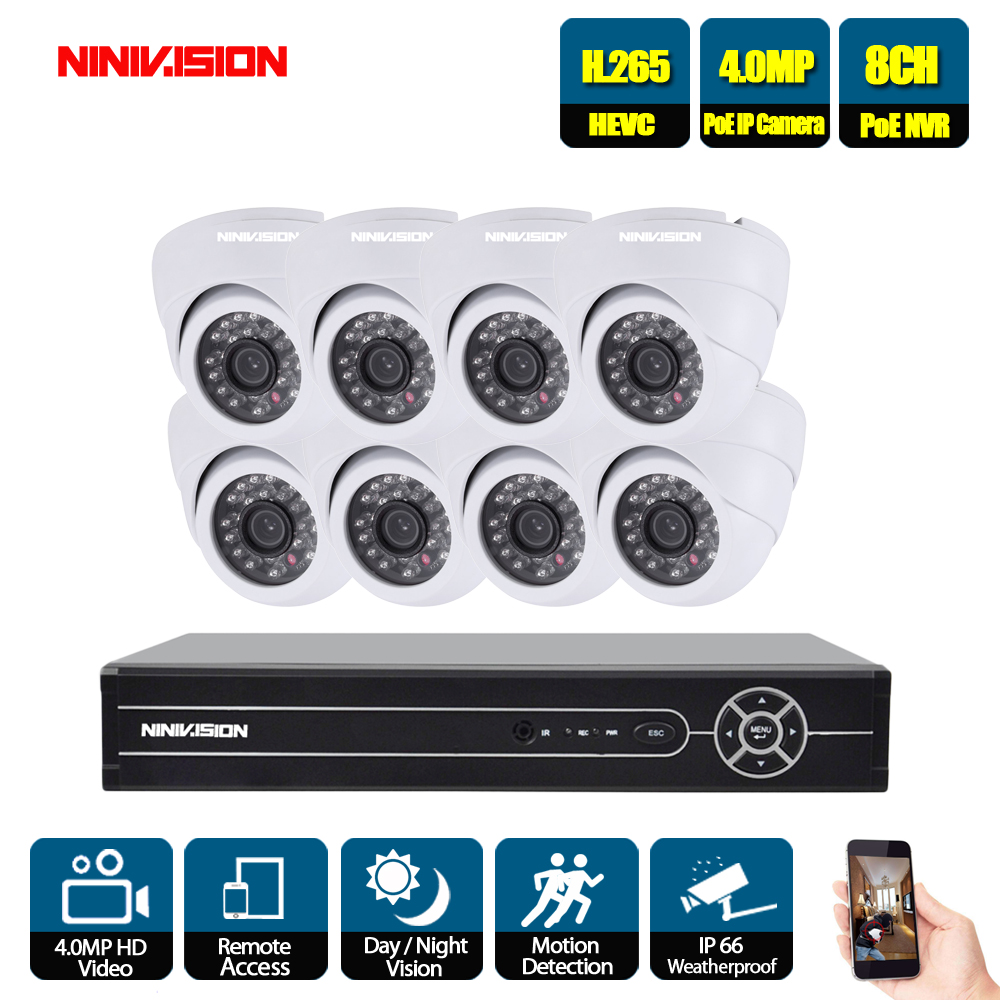 NINIVISION 8CH Network PoE Video Surveillance System 8pcs 4.0MP Outdoor Indoor White Dome IP Cameras CCTV Security 5MP NVR KitNINIVISION 8CH Network PoE Video Surveillance System 8pcs 4.0MP Outdoor Indoor White Dome IP Cameras CCTV Security 5MP NVR Kit