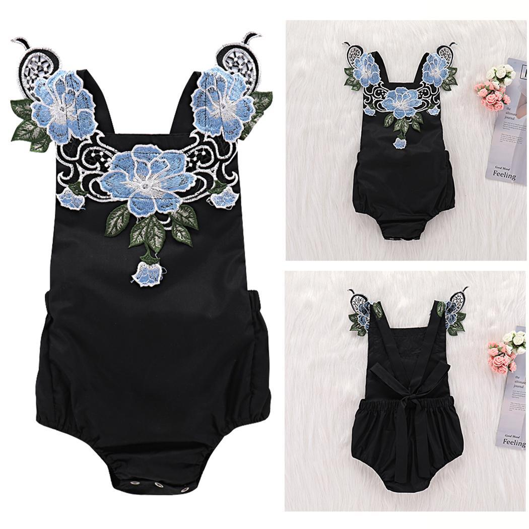 Kids Girl Cute Halter Sleeveless Blue Black Embroidered Floral Casual Romper Summer(China)