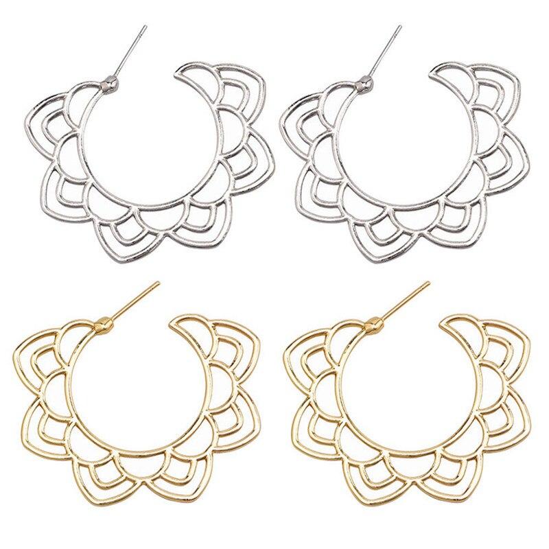 2019 New  Hollow Flower  Earrings For Women fashion Jewelry gold silver Simple design Earring jewelry earrings