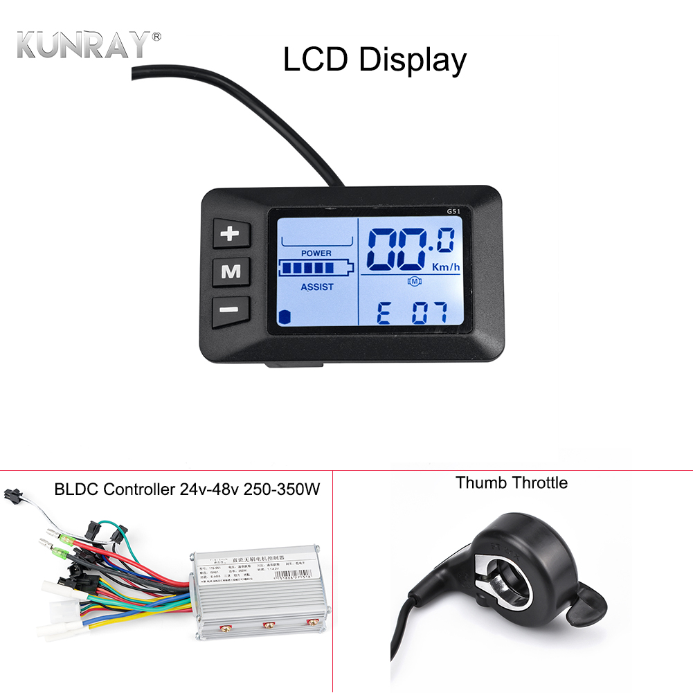KUNRAY EBike Controller 48V LCD E Bike Display Speed Controller For Brushless Motors 24V 36V 350W Bicycle Conversion Kits ODO TM