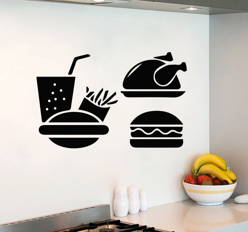Discount sticker dinding sticker room wall decals fast food burger decal kitchen