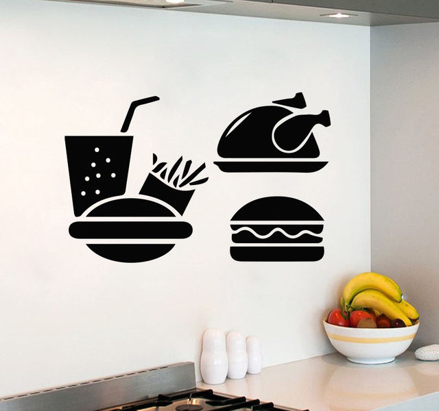 Kids Room Wall Decals Fast Food Burger Art Decal Kitchen Cafe Decor Vinyl  Sticker Free Shipping