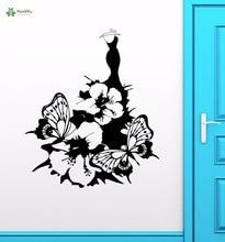YOYOYU Vinyl Wall Decal Fashion Flower Butterfly Dress Skirt Art Interior Papel De Parede Para Quarto Decoration Stickers FD342 цена и фото
