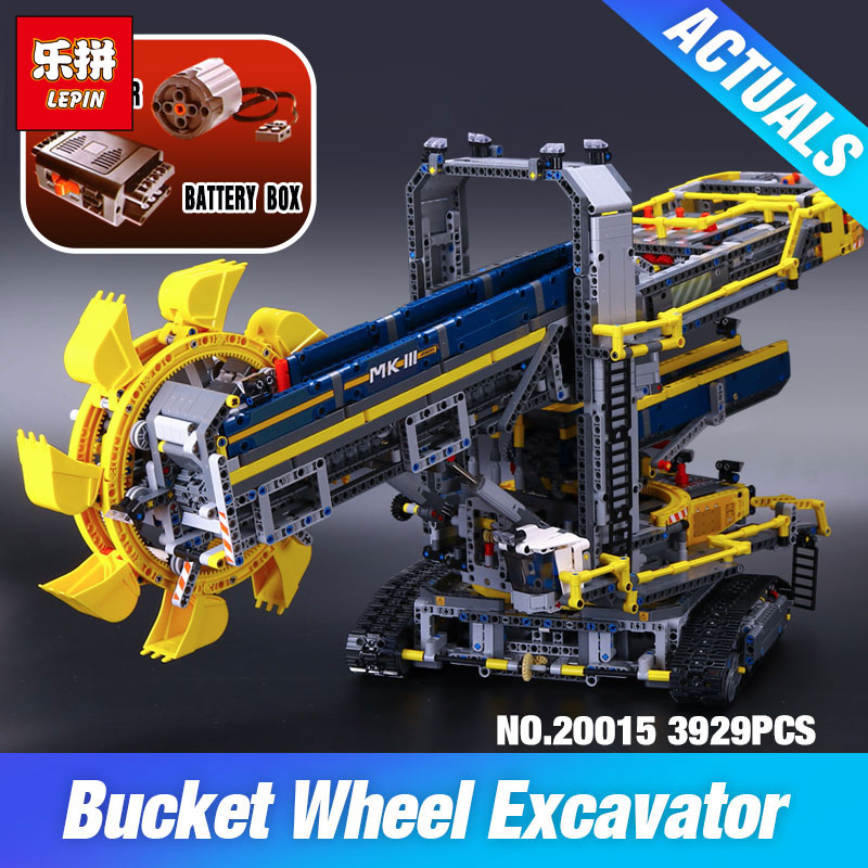 2016 New LEPIN 20015 3929Pcs Technic Bucket Wheel Excavator Model Building assemble Kit Blocks Brick Compatible Toy Gift 42055 high quality excavator seal kit for komatsu pc200 5 bucket cylinder repair seal kit 707 99 45220