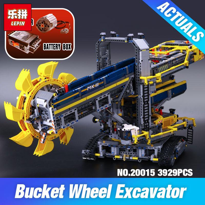 LEPIN 20015 3929Pcs Technic Bucket Wheel Excavator Compatible 42055 Toys Model Building assemble Kit Blocks Brick DIY Kids Gifts 196pcs building blocks urban engineering team excavator modeling design
