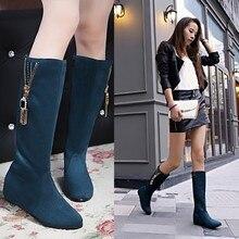 2015 women winter boots girls warm increase med heel 5cm shoe polish Knight boots plus size 42 43 Zipper decoration knees boot