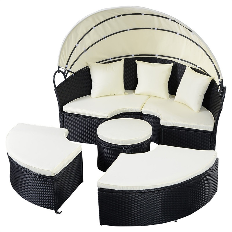 2-in-1 Outdoor Patio Rattan Round Retractable Canopy Daybed Strong And Sturdy Construction Outdoor Furniture Sets
