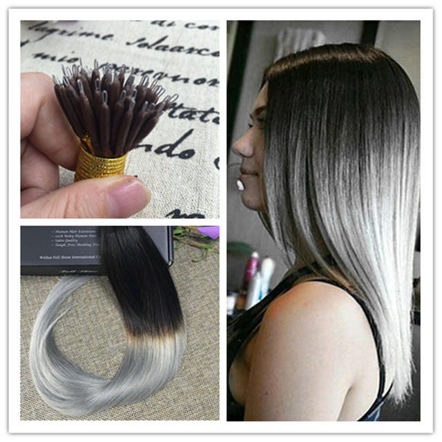 Full Shine Nano Hair Extensions Ombre Color 1b Fading To Silver