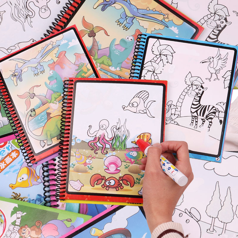 Learning Toys Magical Water Painting Book Doodle And Magic Pen Drawing Board Toys For Kids Birthday Gifts Educational Draw Toys