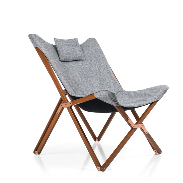 Lightweight And Portable Folding Butterfly Chair Solid Beech Wood Frame  With Cushion Seat Outdoor/Indoor