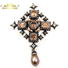 Antique Imitated Champagne Pearl Drop Cross Brooches Silver Tone Faceted Crystal Cross Dangle Pins Women Religious Accessory