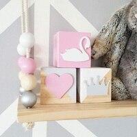 Original Pine Wooden Swan Crown Heart Block 6 6 6CM Decoration For Baby Room Decal