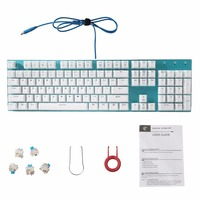 Z 88 Mechanical Keyboard Blue Plate Crystal White Caps LED Backlight Anti Ghosting Compact Gaming Keyboard