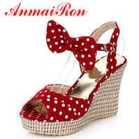 ANMAIRON 夏ボヘミアンポルカドット甘い新ファッション女性のサンダルの靴女性プラットフォームサンダルウェッジ 10 センチメートル高サンダル