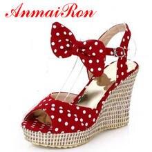 Купить с кэшбэком ENMAYER  Summer Bohemian Polka Dot Sweet new fashion women Sandals shoes women platform Sandals wedges 10cm High Sandals