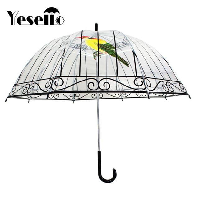 Yesello 1PCS Plastic EVA Transparent Umbrellas Cute Bird Cage Parasol Long-handle Rainy Clear Bubble Umbrella For Women