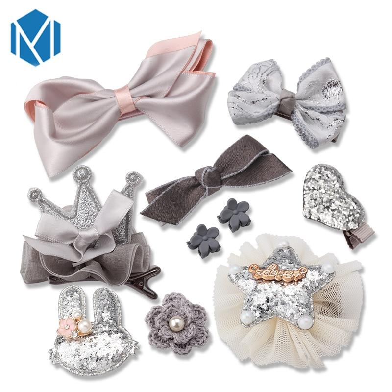 M MISM 2017 10Pcs Cute Crown Bowknot Kind Hairpin Set Flowers