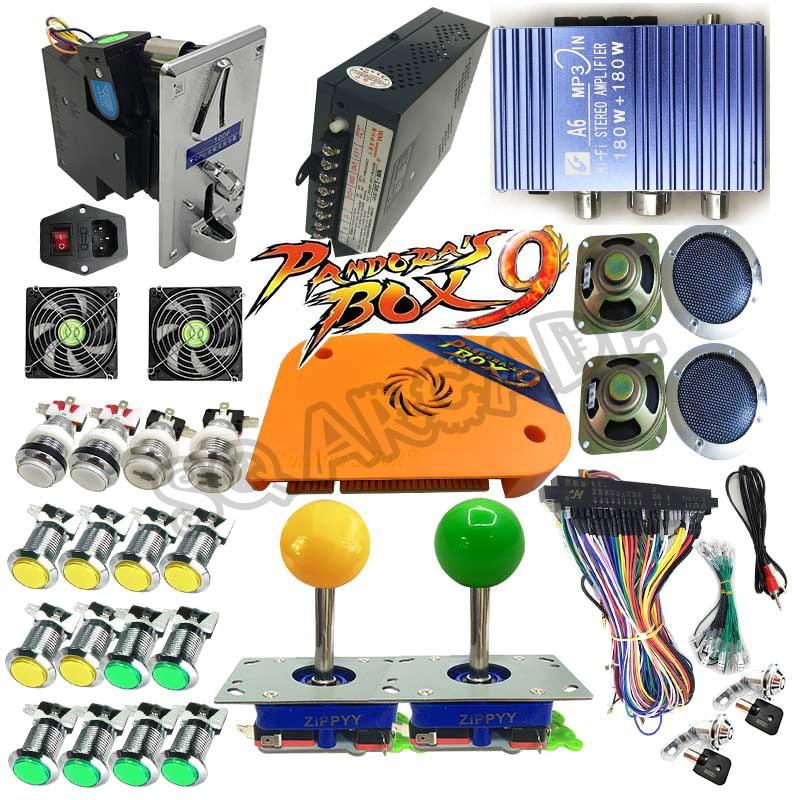 Pandora Box 9 1500 games  DIY Arcade Bundles Kits Parts With Power Supply Jamma Harness Joystick led Push Button Coin Selector