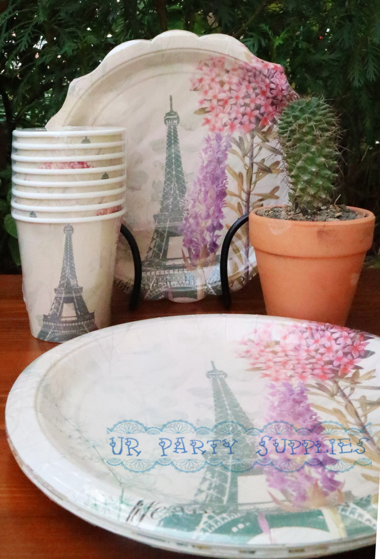 80Sets Canape Party Supplies Tableware 9\  Paper Plates Eiffel Tower 250ml Paper Cups 33 x 33cm Paper Napkin for Birthday Party-in Disposable Party Tableware ... & 80Sets Canape Party Supplies Tableware 9\