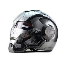 Топ abs moto байкер шлем masei железный человек личность специальный мода половина открытое лицо шлем мотокросс