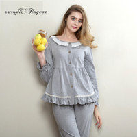 New Summer Soft Cotton Pyjama Women Full Sleeve Round Neck Super Thin Breathable Ladies M XL