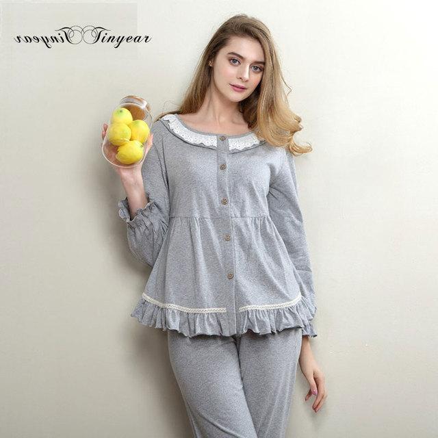 Nuevo verano pijama de algodón mujeres de la manga completa cuello redondo super suave respirable fino señoras M-XL pijama 3 colores opciones
