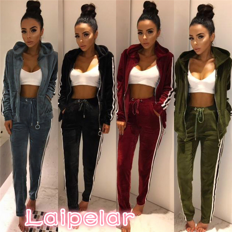 Laipelar Strip Spliced Velvet Tracksuit Winter Two Piece Set Top and Pants Full Sleeve Casual Women Sets Velour Sweatsuit D35BA 1